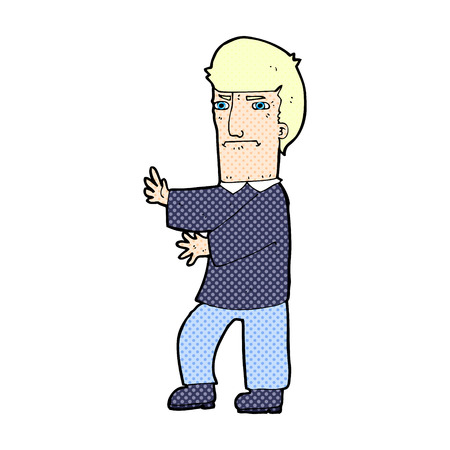 grumpy: retro comic book style cartoon grumpy man