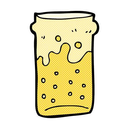 pint: retro comic book style cartoon pint of beer Illustration
