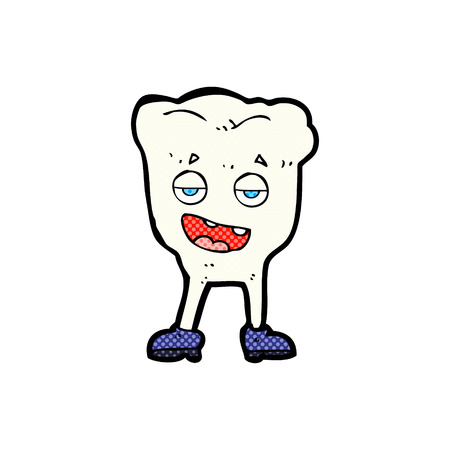 smug: retro comic book style cartoon tooth looking smug
