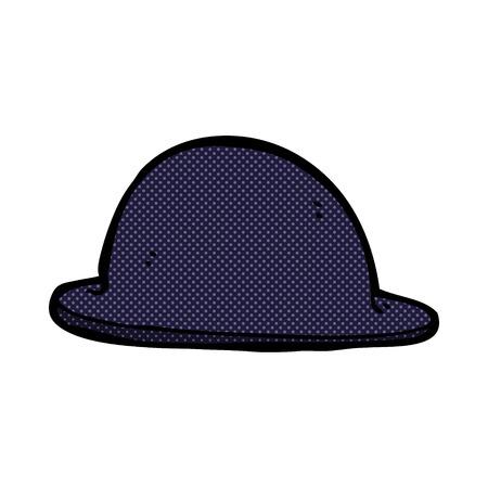 bowler hat: retro comic book style cartoon old bowler hat