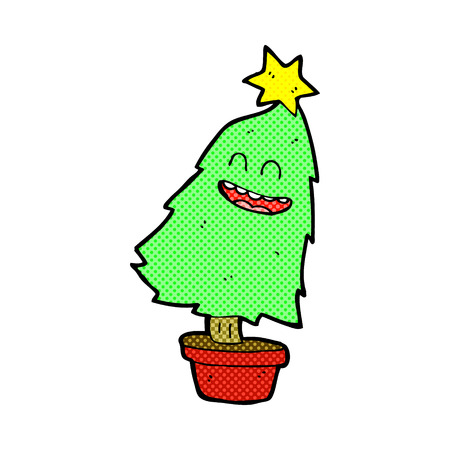 retro comic book style cartoon dancing christmas tree stock vector 36579805
