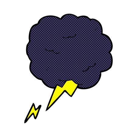 stormcloud: retro comic book style cartoon thundercloud symbol