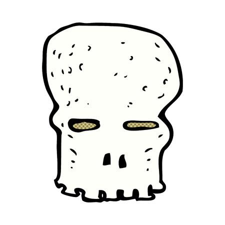 spooky skull: retro comic book style cartoon spooky skull Illustration