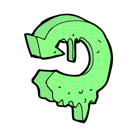 melting: retro comic book style cartoon melting recycling symbol Illustration
