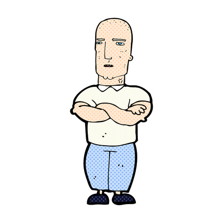 bald man: retro comic book style cartoon annoyed bald man