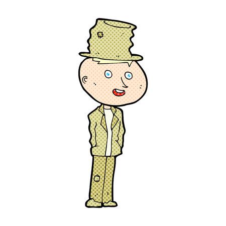 tramp: retro comic book style cartoon funny hobo man Illustration
