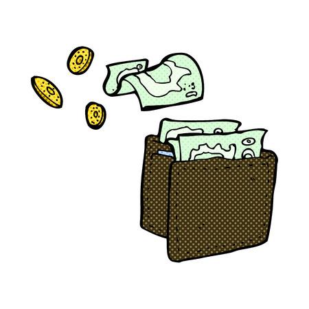 spilling: retro comic book style cartoon wallet spilling money
