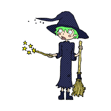 spell: retro comic book style cartoon witch casting spell