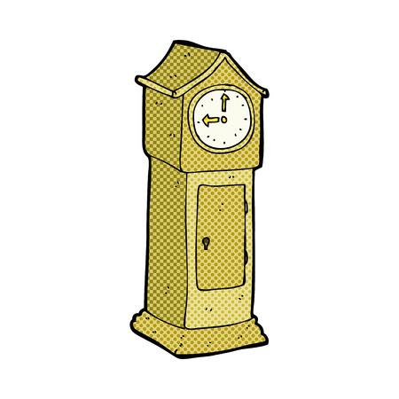 grandfather clock: retro comic book style cartoon grandfather clock