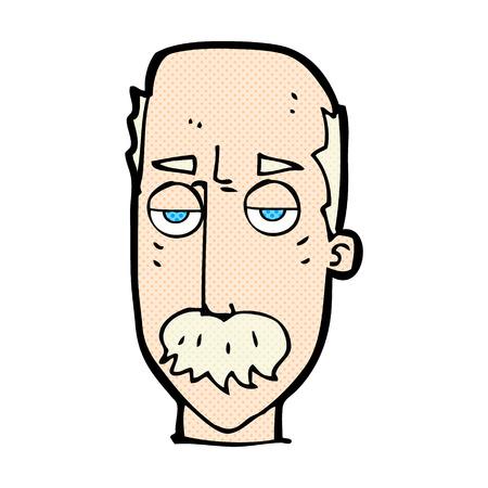 retro comic book style cartoon bored old man