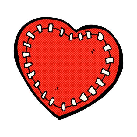stitched: retro comic book style cartoon stitched heart