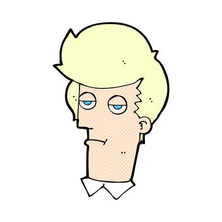 bored man: retro comic book style cartoon bored man Illustration