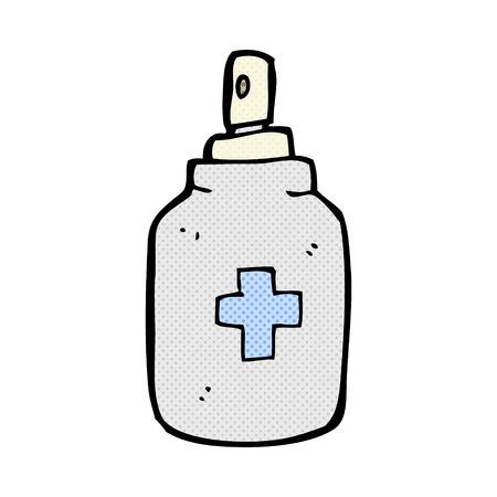 antiseptic: retro comic book style cartoon antiseptic spray Illustration