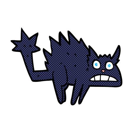 hissing: retro comic book style cartoon frightened black cat