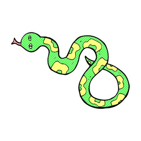 hissing: retro comic book style cartoon snake