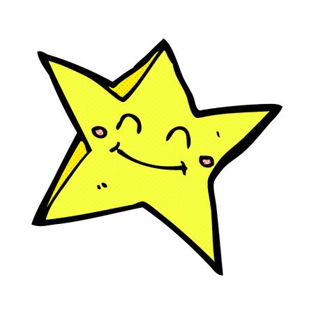 comic book character: retro comic book style cartoon happy star character Illustration