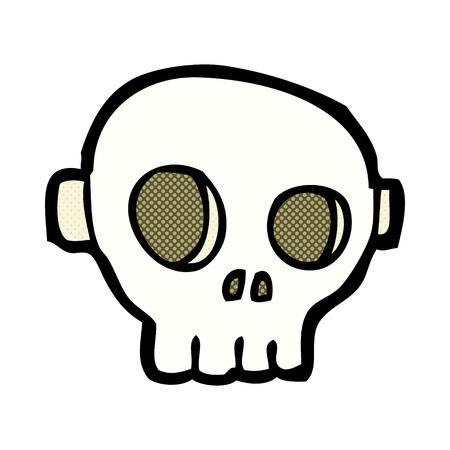 skull mask: retro comic book style cartoon spooky skull mask