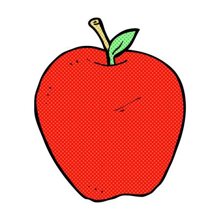 apple character: retro comic book style cartoon apple