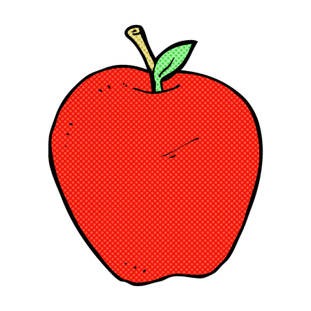 retro comic book style cartoon apple