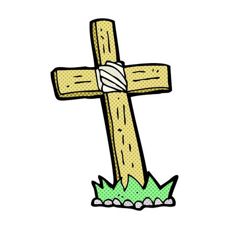 cruz de madera: de dibujos animados retro del estilo del c�mic de madera tumba cruz Vectores