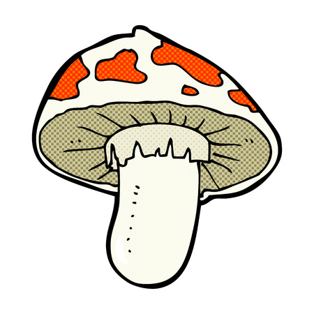 toadstool: retro comic book style cartoon toadstool Illustration