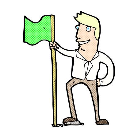 planting: retro comic book style cartoon man planting flag