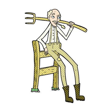 old farmer: retro comic book style cartoon old farmer leaning on fence