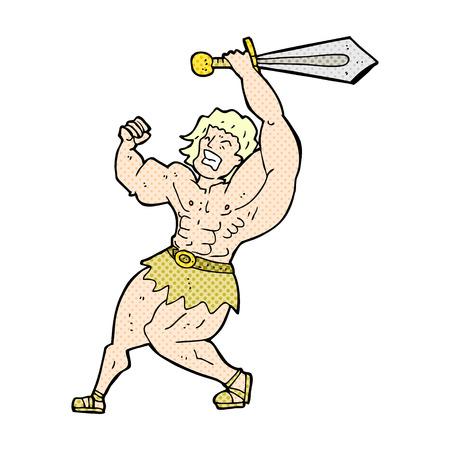 barbarian: retro comic book style cartoon barbarian hero