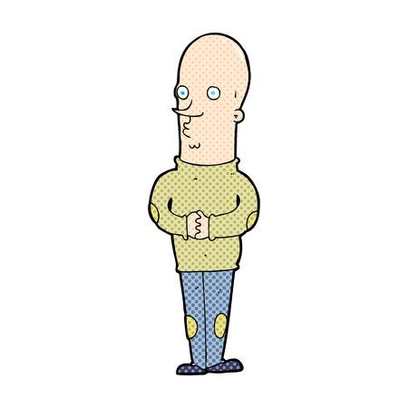 bald man: retro comic book style cartoon funny bald man