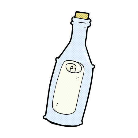 message in the bottle: retro comic book style cartoon message in bottle Illustration