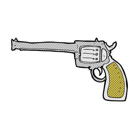 six shooter: retro comic book style cartoon gun Illustration