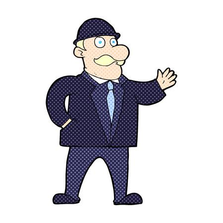 bowler hat: retro comic book style cartoon sensible businessman in bowler hat Illustration
