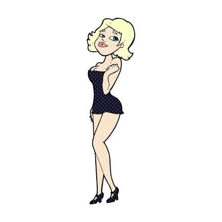 short dress: retro comic book style cartoon attractive woman in short dress