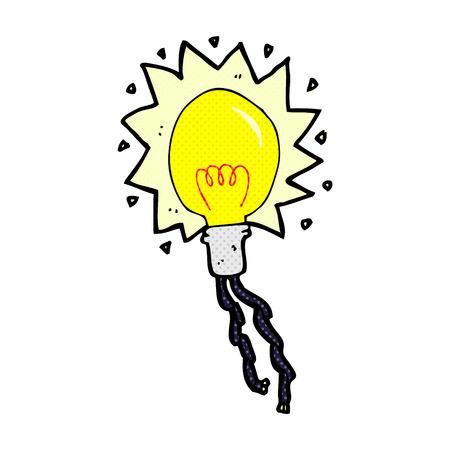 electric bulb: retro comic book style cartoon electric light bulb