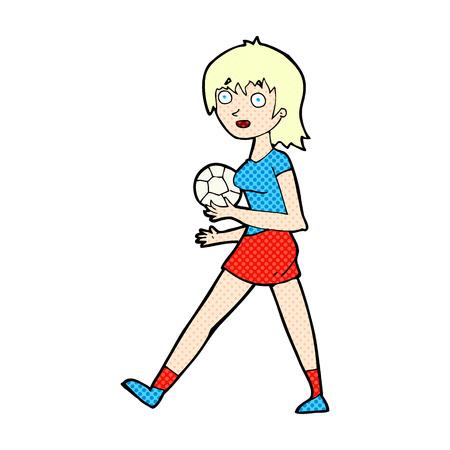 retro comic book style cartoon soccer girl Vector