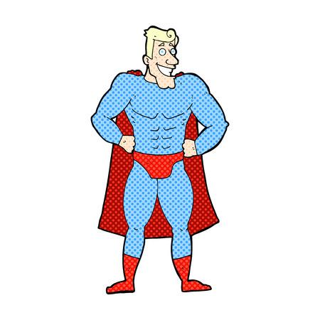 smilling: retro comic book style cartoon superhero