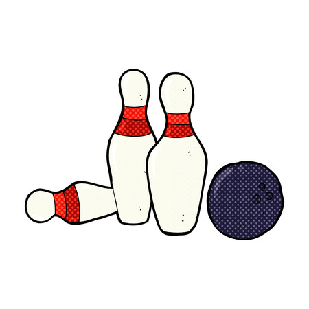 ten pin bowling: retro comic book style cartoon bowling ball and skittles Illustration