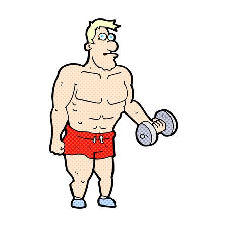 man lifting weights: retro comic book style cartoon man lifting weights