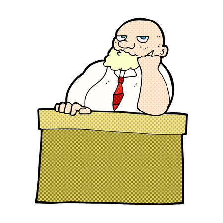 bored man: retro comic book style cartoon bored man at desk
