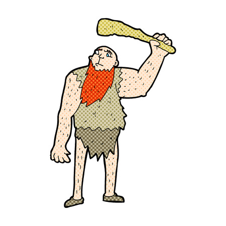 neanderthal: retro comic book style cartoon neanderthal Illustration
