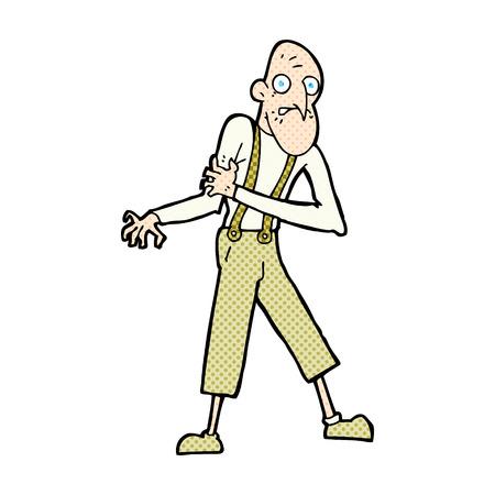 heart attack: retro comic book style cartoon old man having heart attack