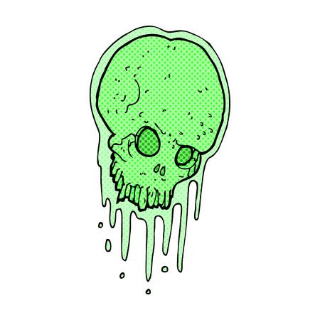 slimy: retro comic book style cartoon slimy skull