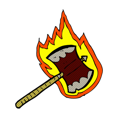 flaming: retro comic book style cartoon flaming axe