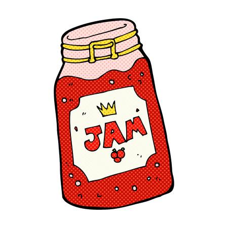 retro comic book style cartoon jar of jam Vector