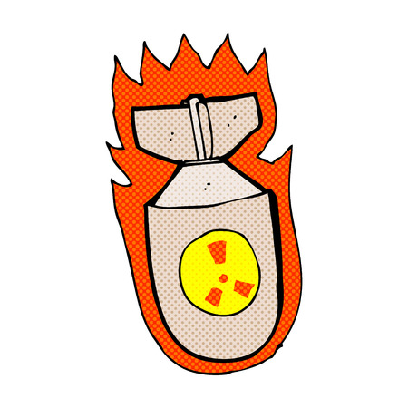 retro comic book style cartoon flaming bomb Vector