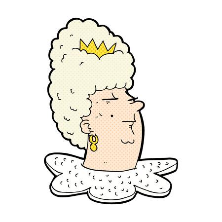 arrogant: retro comic book style cartoon queen head