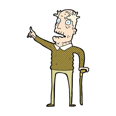 walking stick: retro comic book style cartoon old man with walking stick