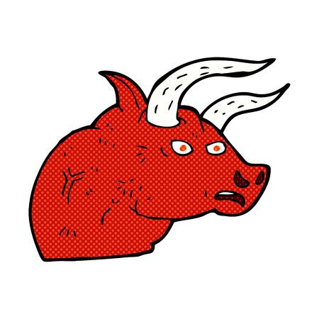 angry bull: retro comic book style cartoon angry bull head Illustration