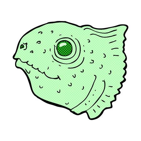 fish head: retro comic book style cartoon fish head Illustration