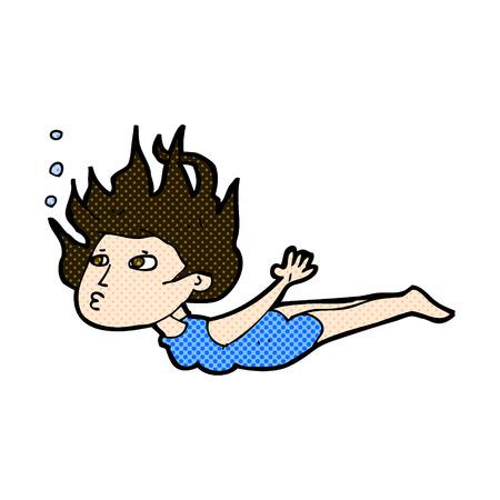 woman underwater: retro comic book style cartoon woman swimming underwater